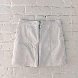 White Corduroy O Ring Zipper Skirt